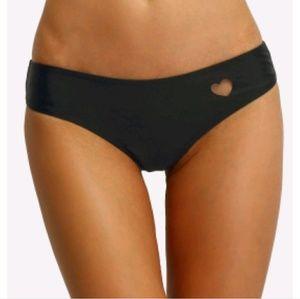 Cheeky black bikini thong with cut out heart